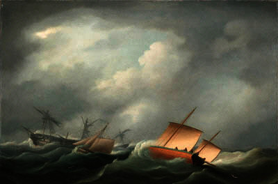 Dismasted no Golfo da Biscaia por Thomas Buttersworth (1768-1842, United Kingdom)