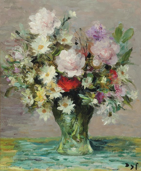 Rosas e papavers, (1970) por Marcel Dyf (1899-1985, France)