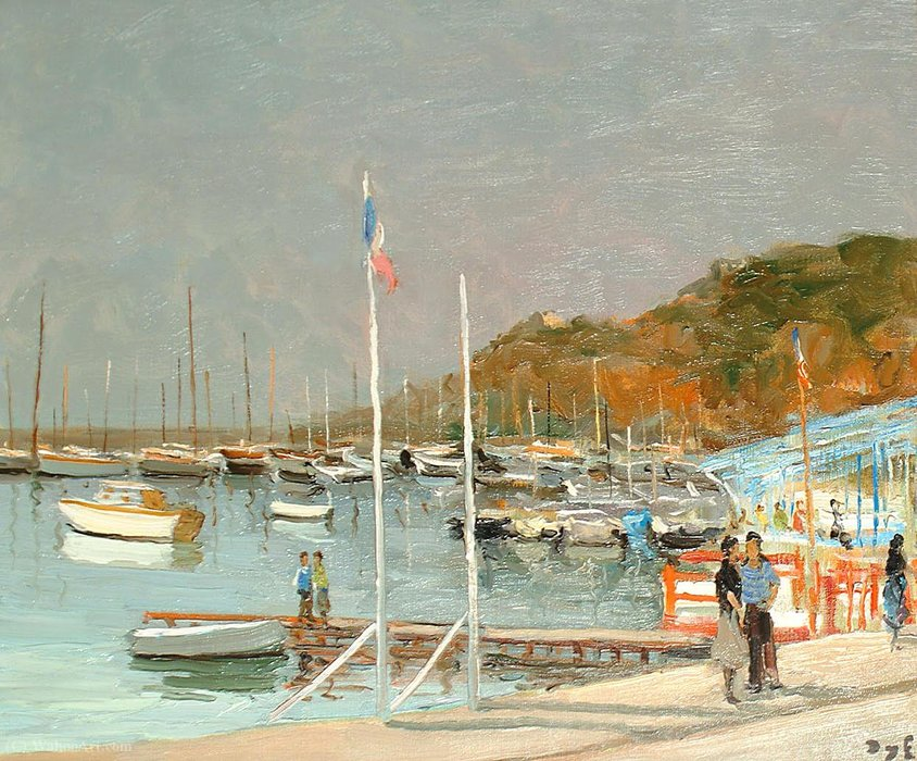 The Pier, no Golfo de Juan por Marcel Dyf (1899-1985, France)