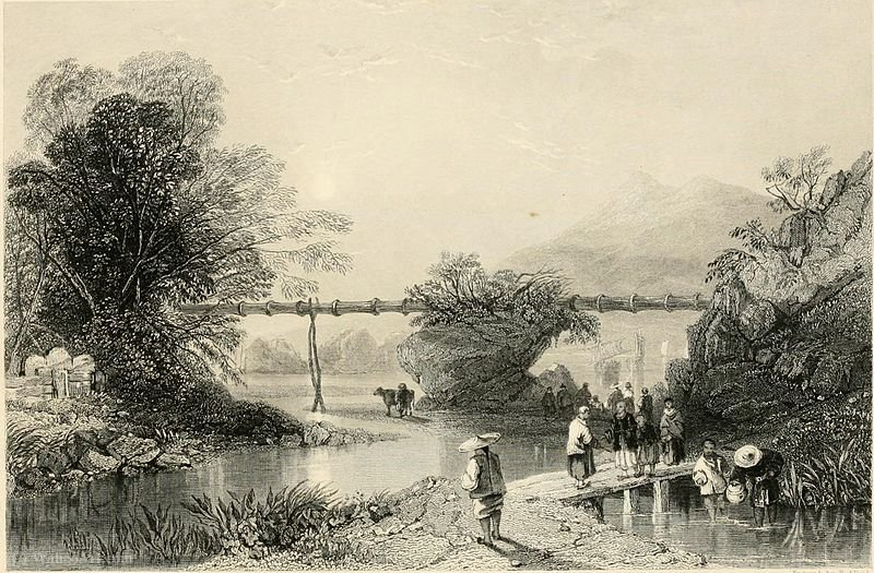 Bamboo aqueduto em Hong Kong por Thomas Allom (1804-1872, United Kingdom)