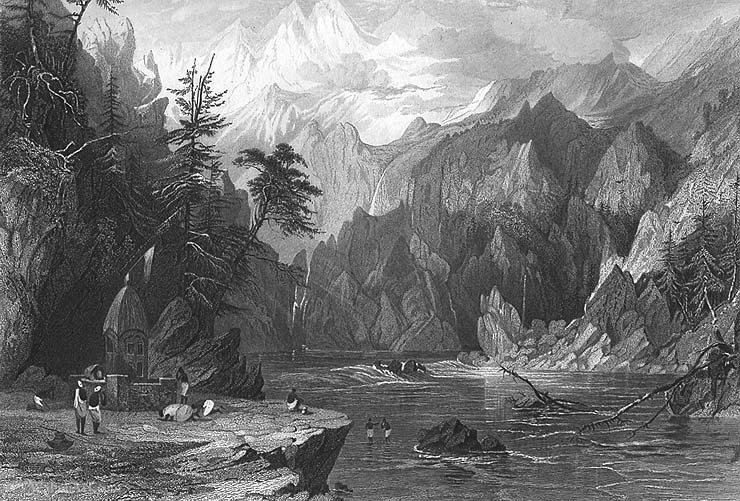 Gangotri, ganges rio por Thomas Allom
