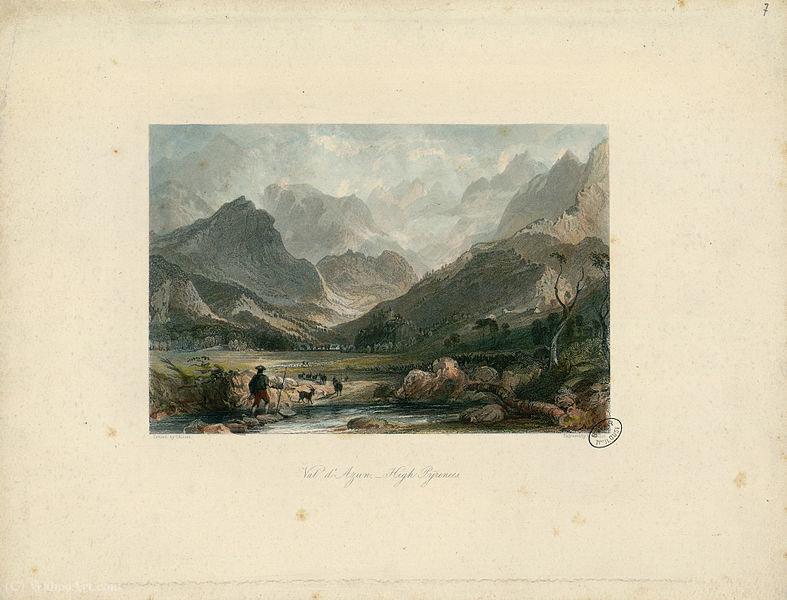 Val d Azun, altos Pirineus - Fonds Ancely por Thomas Allom (1804-1872, United Kingdom)