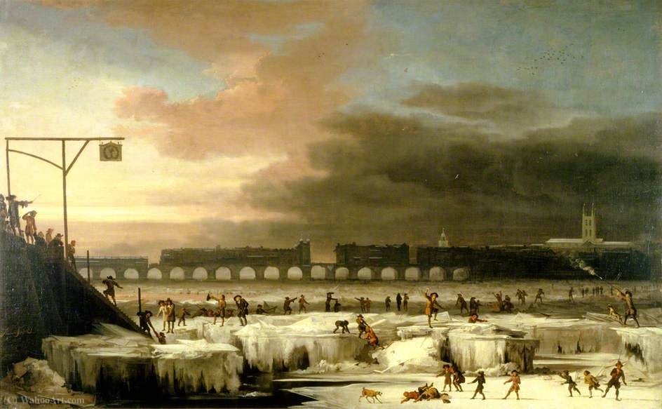 The Frozen Thames, Olhando para leste em direcção Old London Bridge, Londres por Abraham Danielsz Hondius (1625-1691, Netherlands)