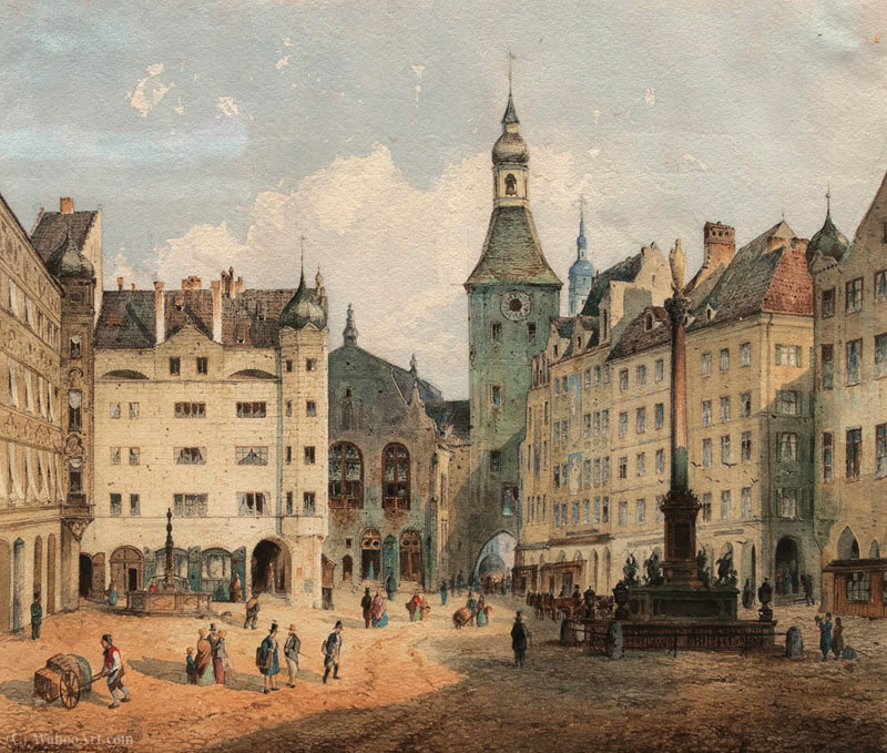 A Marienplatz, em Munique por Anton Doll (1826-1887, Germany)