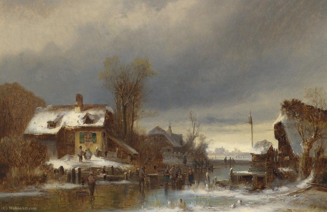 Prazeres do inverno por Anton Doll (1826-1887, Germany)