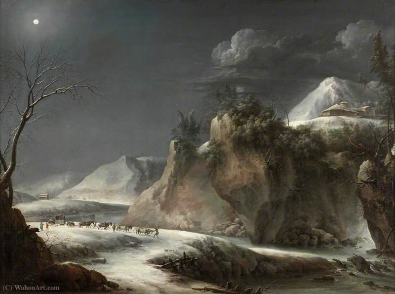 Cena do inverno nos Alpes italianos por Francesco Foschi (1710-1780, Italy)