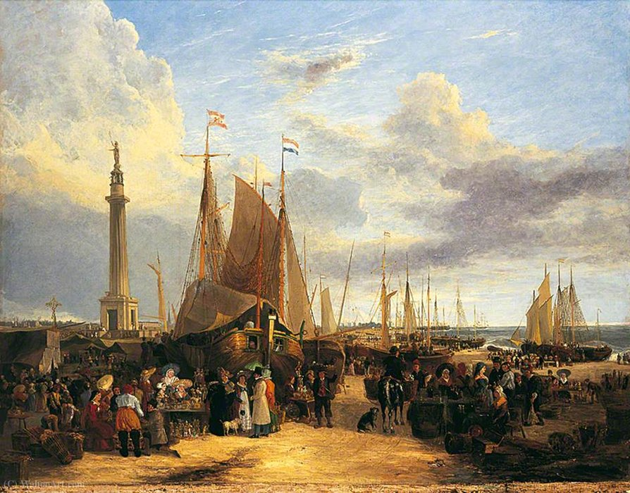 Dutch Fair em Yarmouth Beach, Norfolk por George Vincent (1796-1831, United Kingdom)