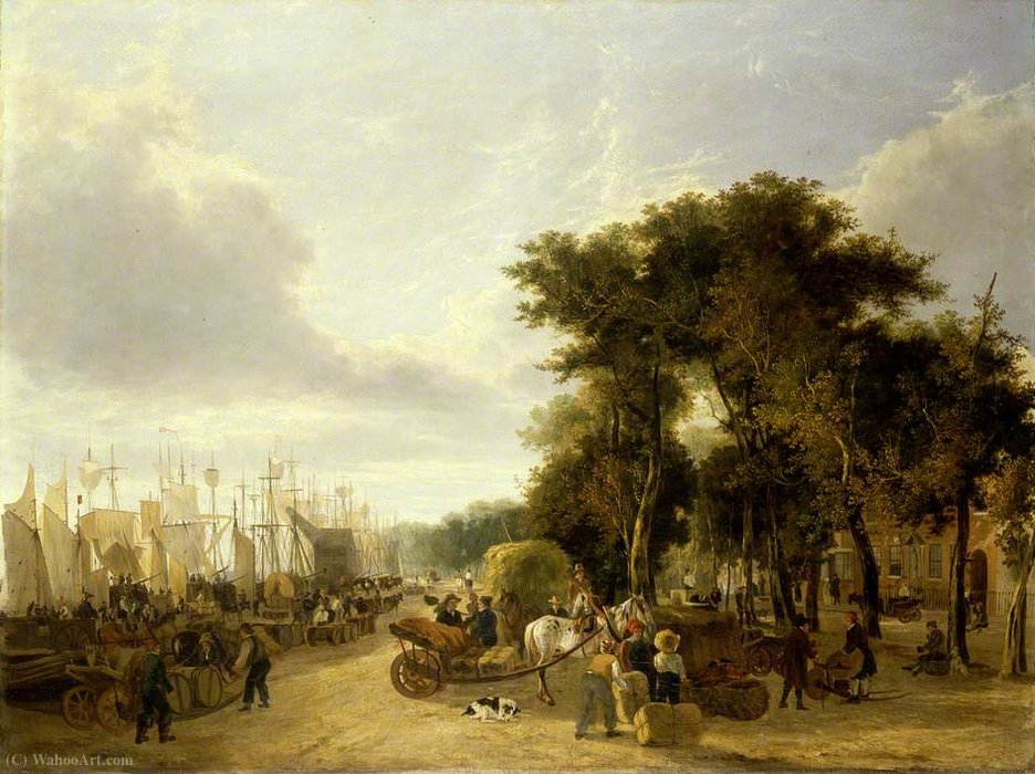 Yarmouth cais, Norfolk por George Vincent (1796-1831, United Kingdom)