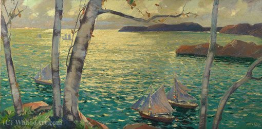 A partir do Rockport Shore por Jonas Lie (1880-1940, Norway)