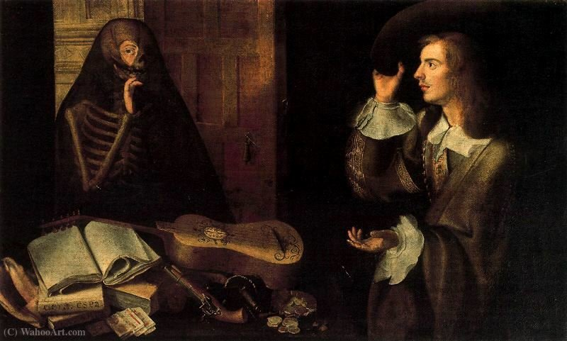 The Gentleman e Morte por Pedro De Camprobín (1605-1674, Spain)
