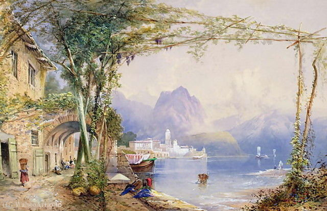 Cena do lago italiano por Thomas Charles Leeson Rowbotham (1823-1875, United Kingdom)