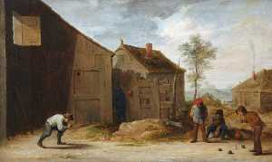 David The Younger Teniers - camponeses jogando  tigelas