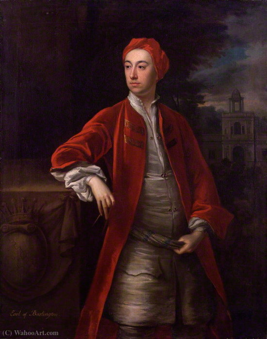 Retrato de Richard Boyle, conde de Burlington 3 por Jonathan Richardson The Elder (1667-1745) | Copy Pintura | ArtsDot.com