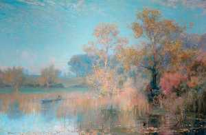 Alfred East - Lakeside Paisagem
